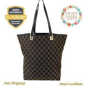 🌻💯 Gucci Tote Bag GG Brown Canvas Shoulder